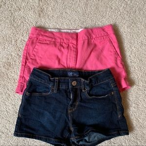 2 pair of girls shorts size 8 - Gap and Crewcuts